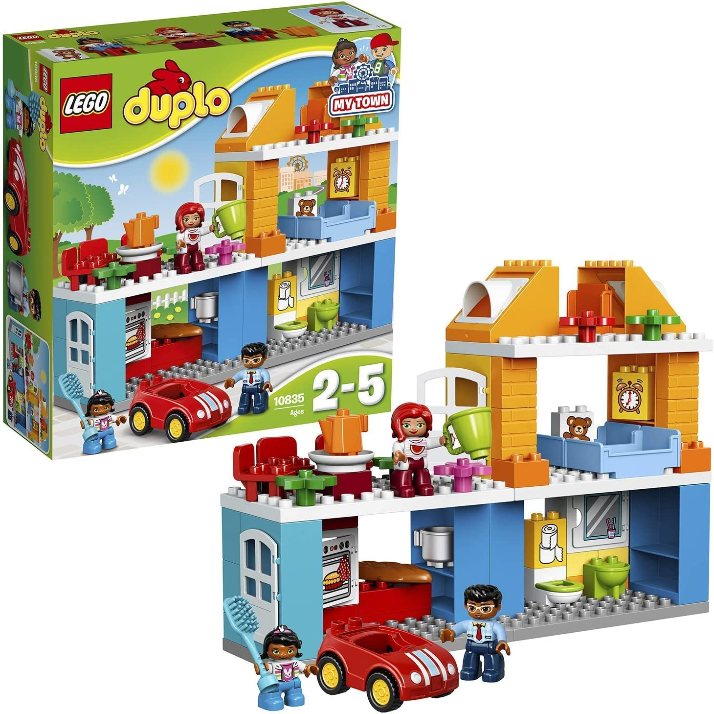 LEGO DUPLO Town - Casa Familiar de Juguete de Preescolar con Muñecos y Coches para Niños y Niñas de 2 a 5 Años, Incluye Varias Plantas Distintas (10835)