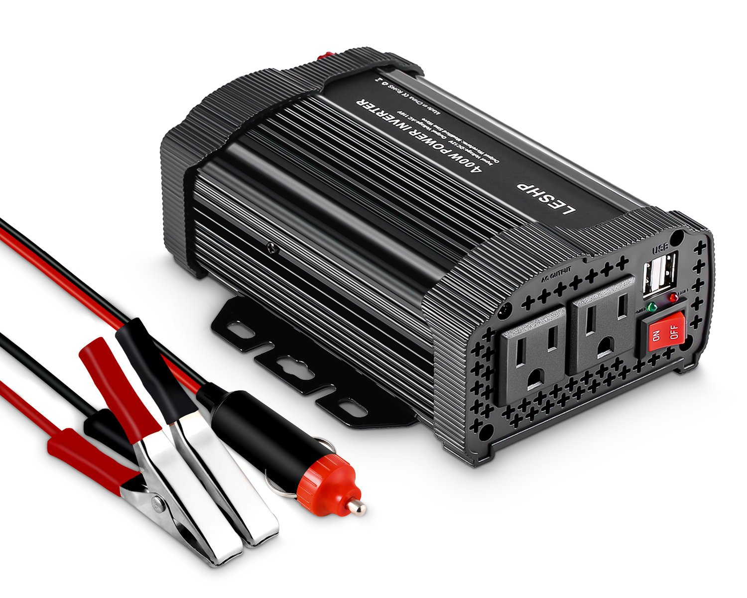 LESHP 400W Power Inverter DC 12V to AC 110V Car Adapter with 4.8A 2 USB Charging Ports by LESHP (Image #2)