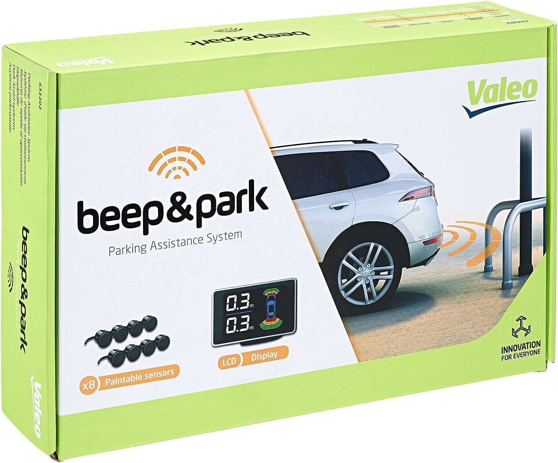 Valeo VAL632202 Asistente con 8 sensores y pantalla LCD para instalación de frontal/trasero, Negro