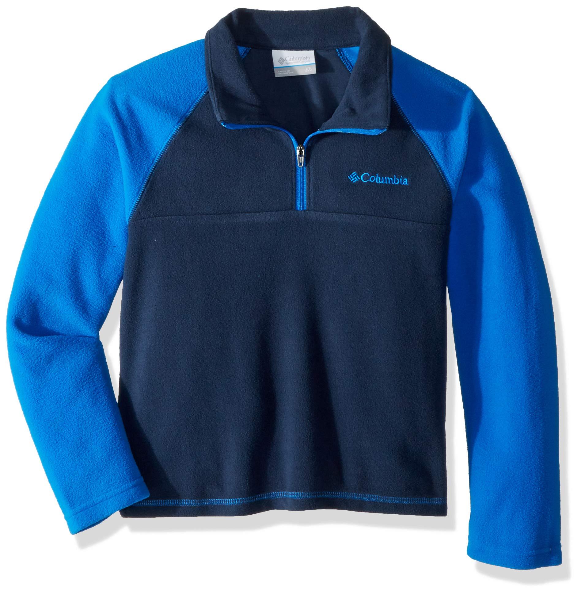 Columbia Boys' Big Glacial Half Zip, Collegiate Navy/Super Blue, Small