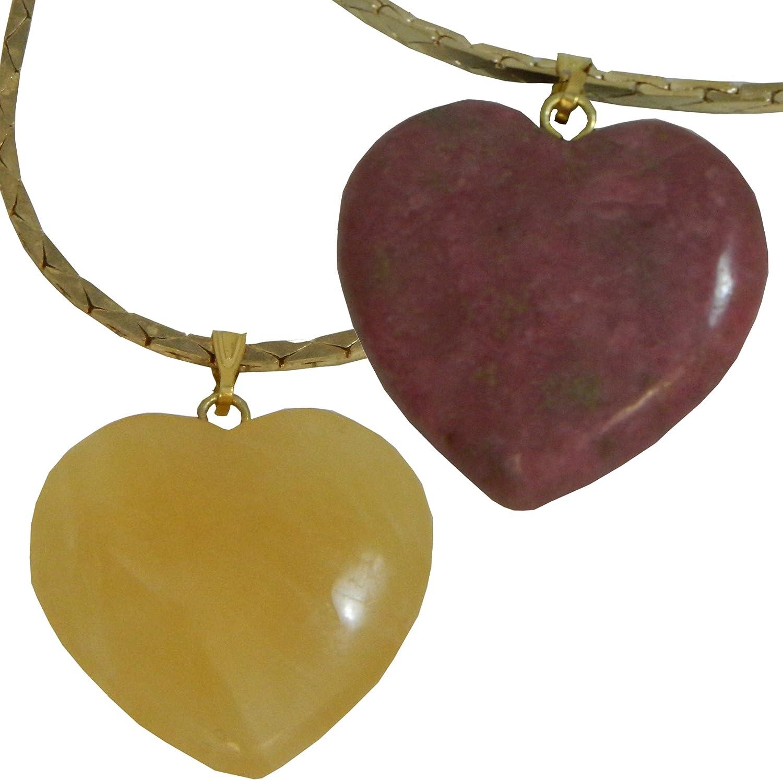 Dos collares corazones calcita rodonita cadena colgantes de corazón piedras semi preciosas joyas (amarillo y rosa antiguo)