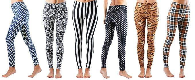 5d675fba287125 Amazon.com: Big Girls Fun Printed Leggings 14-16 (6 Pack): Clothing