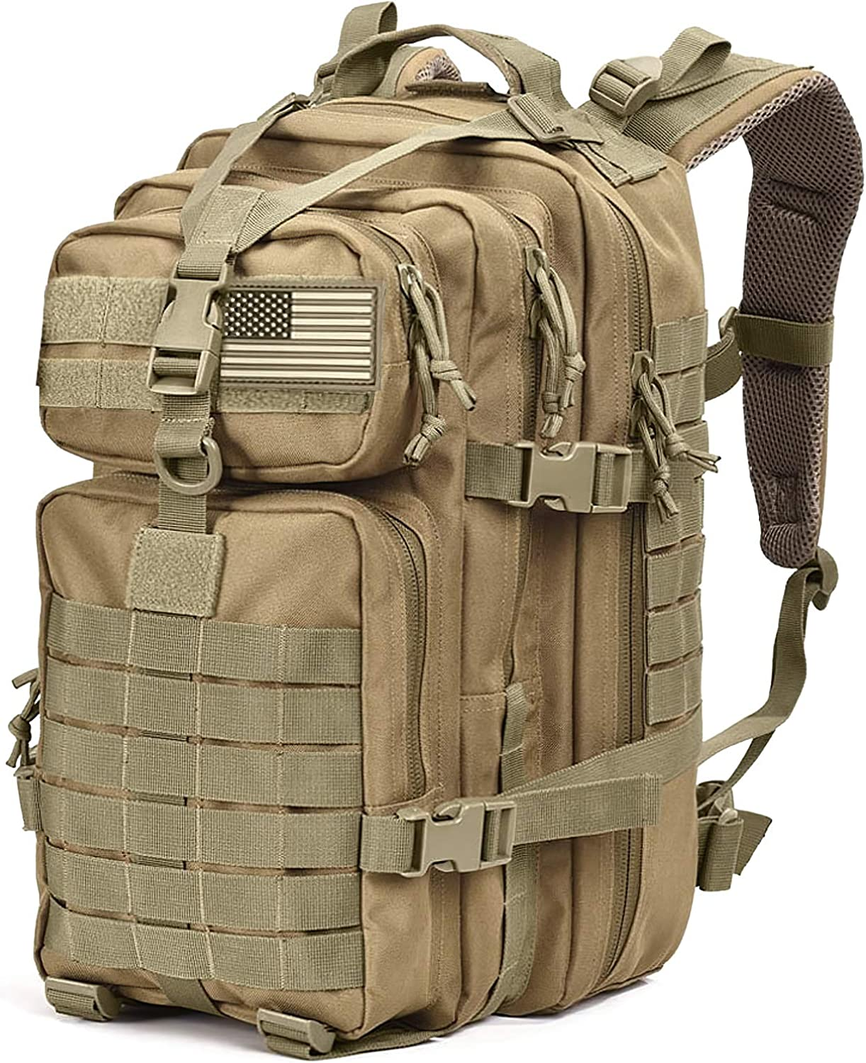 Tru Salute Military Tactical Backpack Large Tan Army 3 Day Assault Pack Molle Bugout Bag Rucksack (tan): Clothing