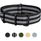 Infantry 22mm 20mm NATO Watch Band Nylon Fabric Military Strap G10 4 Rings Divers Heavy Duty Strong
