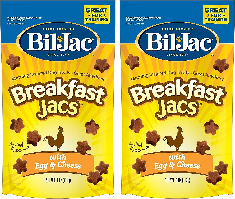 (2 Pack) Bil Jac Breakfast Jacs, Egg and Cheese Dog Treats, 4 Ounces each