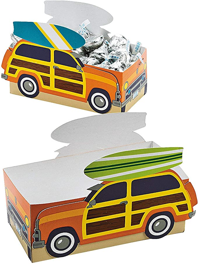 Surfs Up Favor Boxes - Set of 12 Treat Containers - Birthday, Beach and Pool Party Supplies