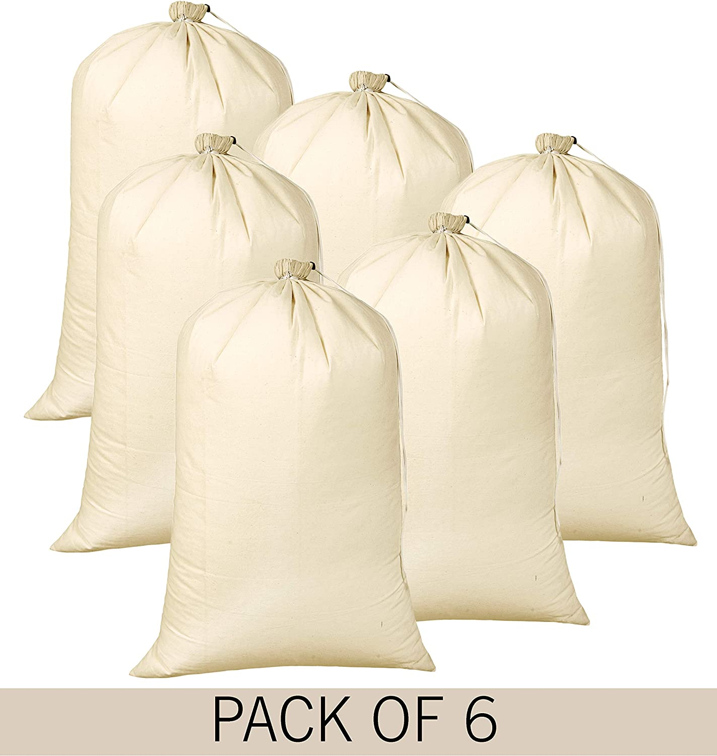 Cotton Laundry Bag With Drawstring,Heavy Duty Laundry Bag,Canvas Laundry Bags, Easy To Carry,Washable Commercial Laundry Bag,Santa Bag,Laundry Hamper Bags 24x36 inch -Natural (Set Of 6 Pieces)