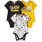 Gerber Childrenswear NFL Pittsburgh Steelers Boys 20183 Pack Short Sleeve Variety Bodysuit, Black, 6-12 Months