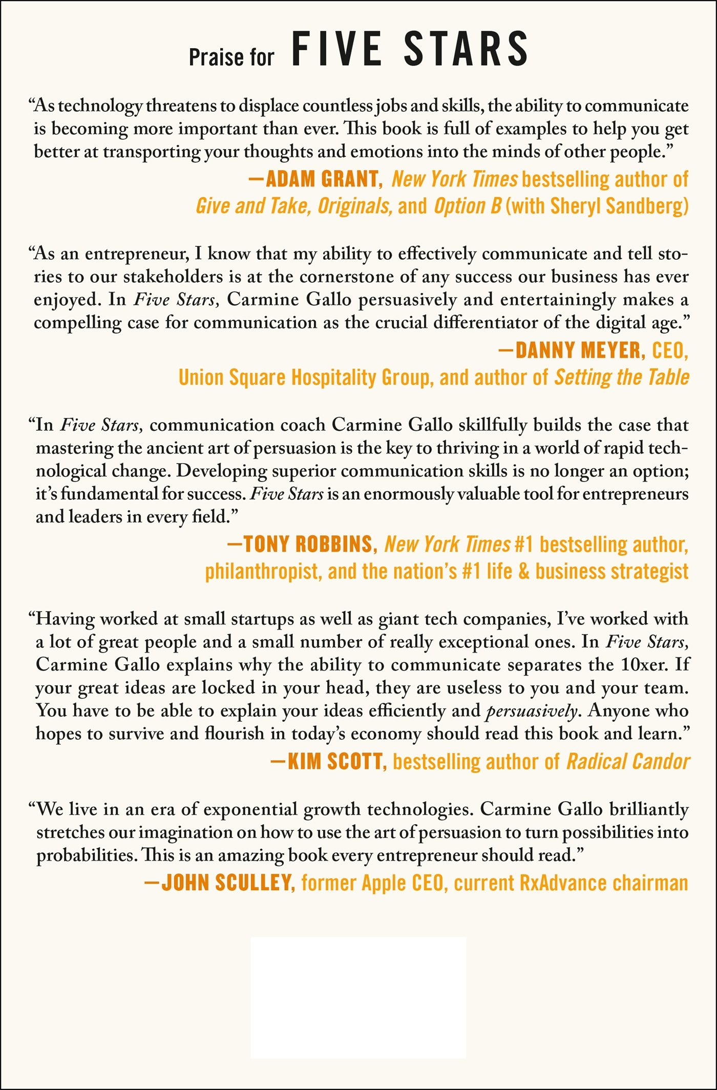Five Stars The Communication Secrets To Get From Good To Great
