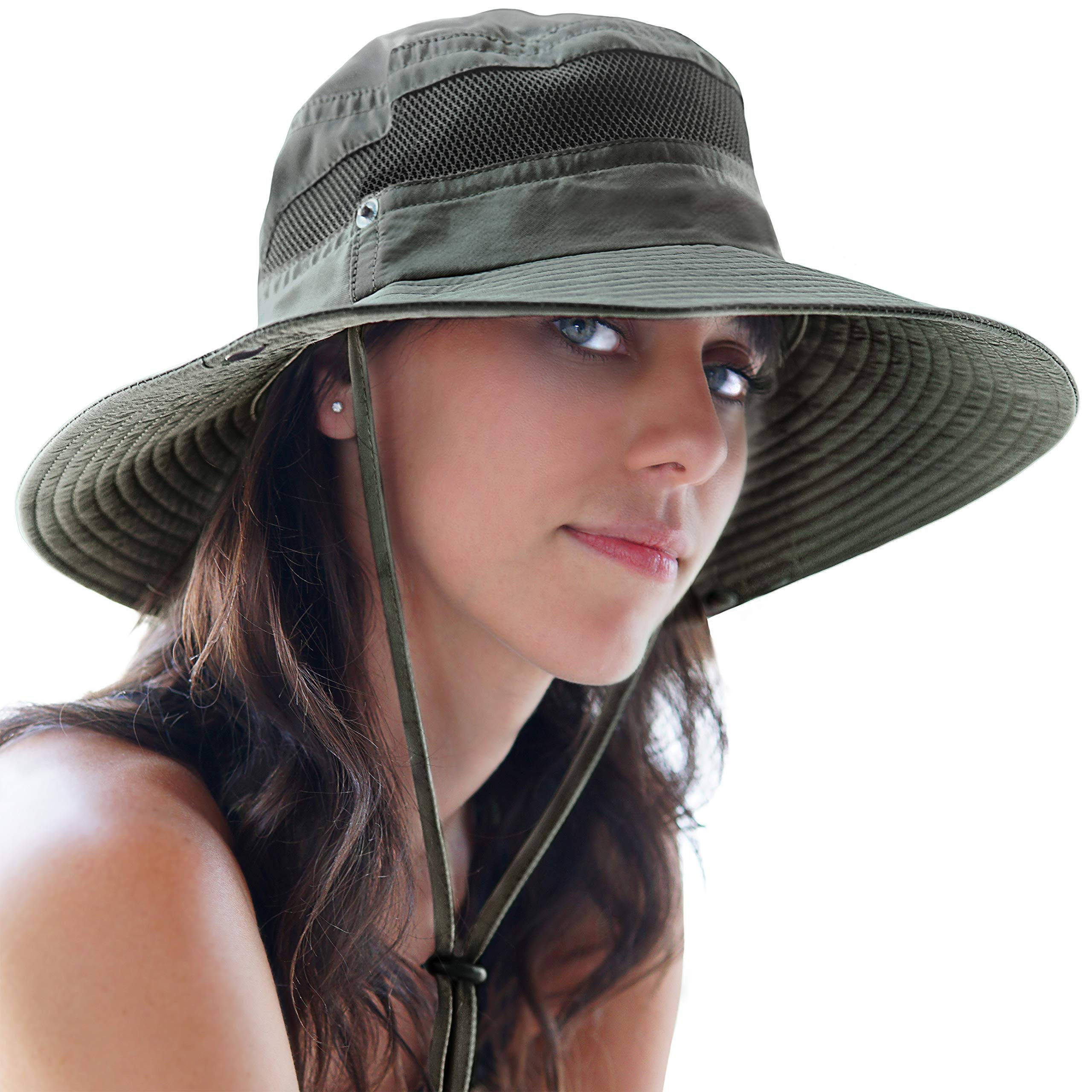 Fishing Hat Safari Cap with Sun Protection for Men and Women (Army Green) by GearTOP (Image #3)