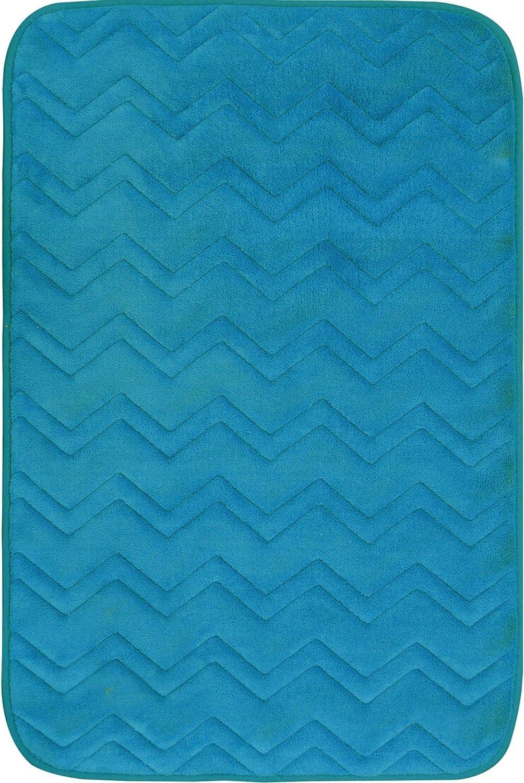 """Home Dynamix Indulgence Zigzag Bath Mat, 20"""" x30, Turquoise"""