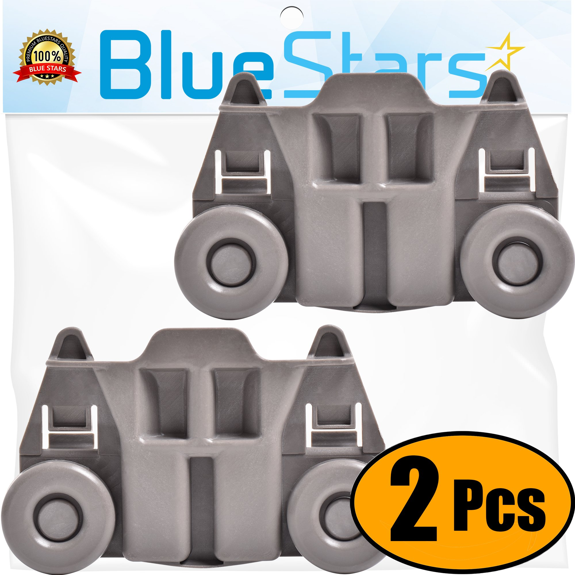 Ultra Durable W10195417 Dishwasher Roller Wheel Track Replacement Part by Blue Stars – Exact Fit For Whirlpool & Kenmore Dishwashers – Replaces WPW10195417 WPW10195417VP - PACK OF 2