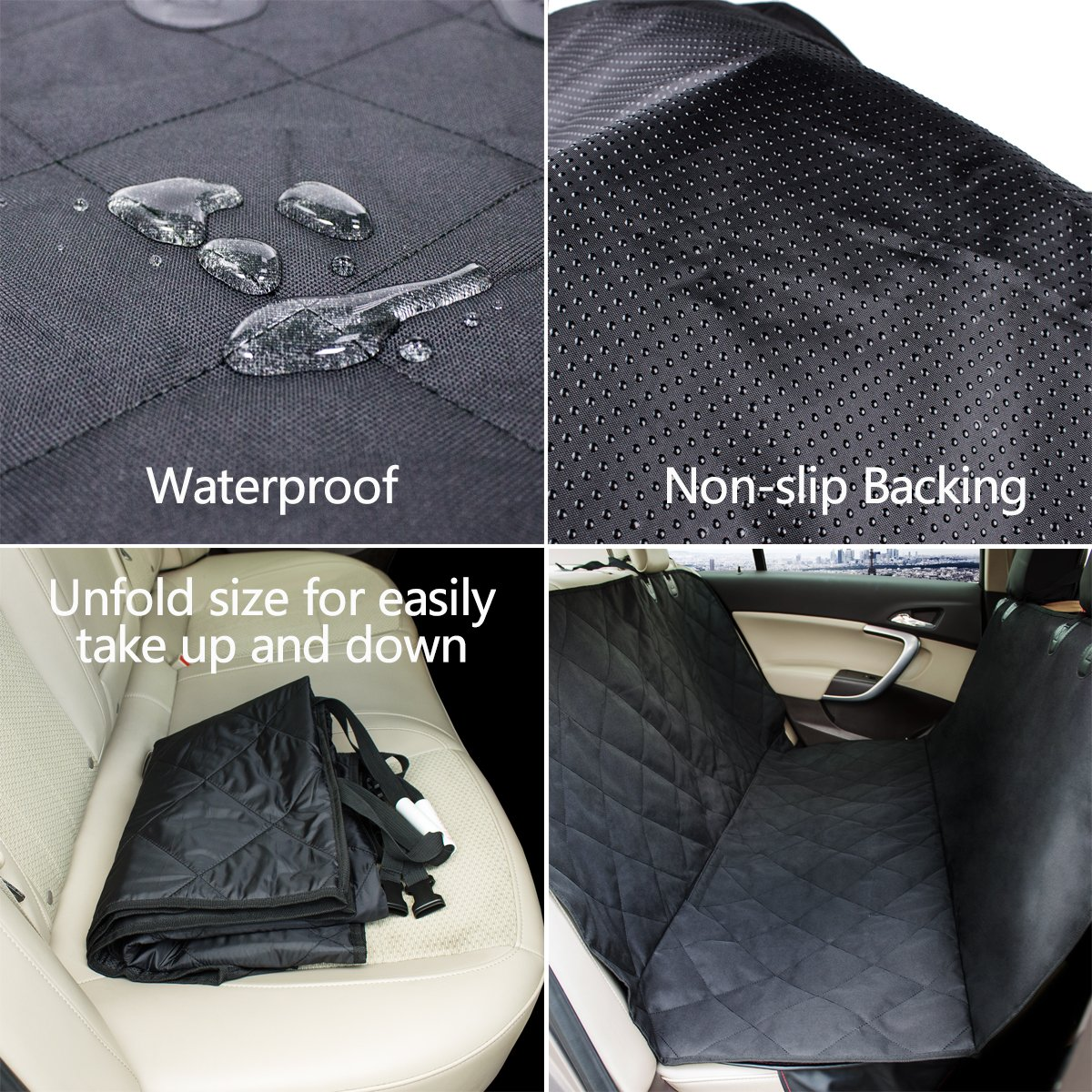 morpilot Dog Car Seat Cover, Waterproof & Scratch Proof & Nonslip Back Seat Cover Dog Travel Hammock with Seat Anchors & Extra Two Seat Belts (58 X 54Inch) Universal Fit