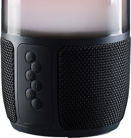 Daewoo SoundGlow - Altavoz Bluetooth con micrófono integrado para llamadas manos libres, pantalla de luz LED multicolor, conexión Bluetooth y auxiliar, luz y portátil, batería de 1800 mAh, salida de audio de