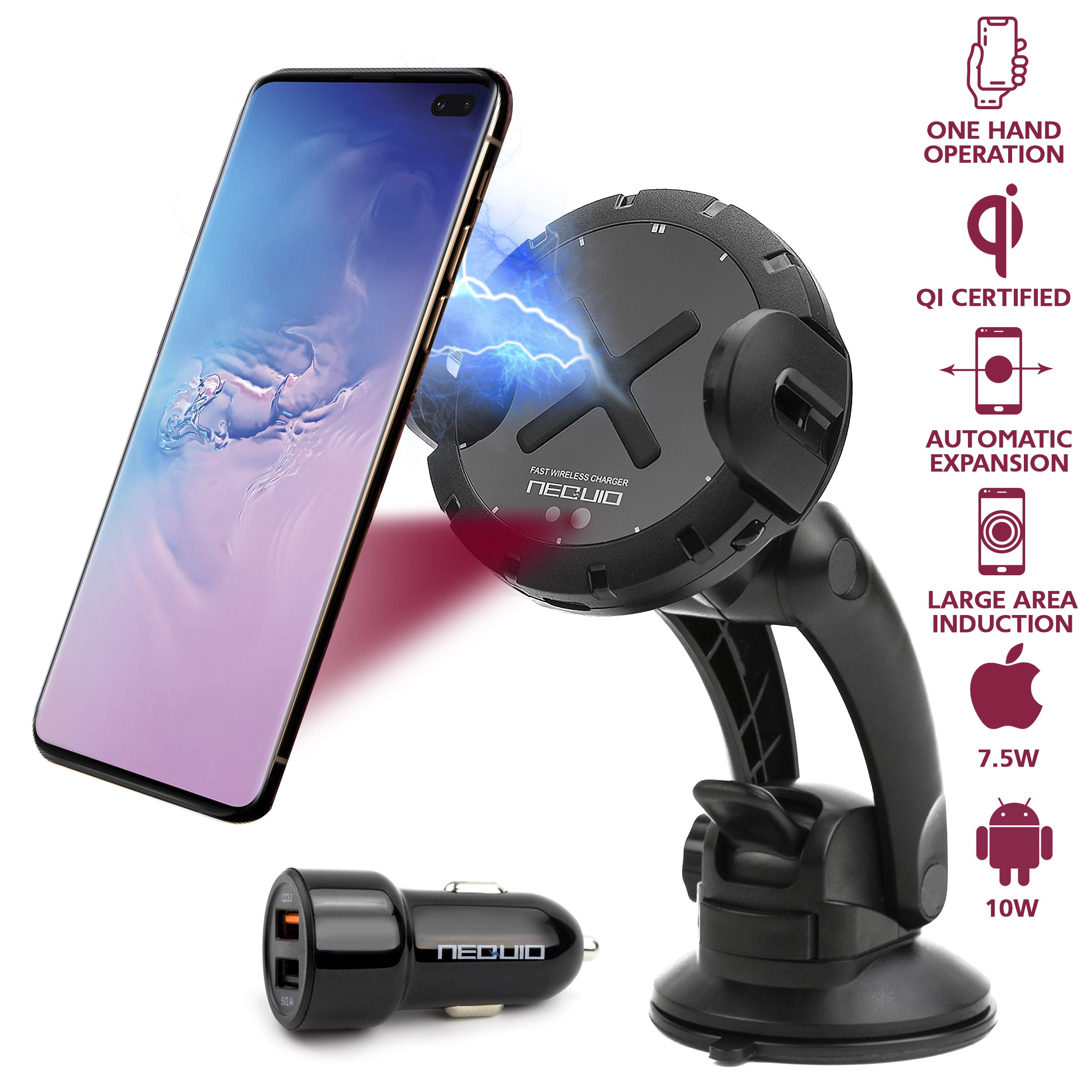 NEQUIO X Fast Wireless Charger Car Mount - Automatic Clamping Dashboard, Air Vent or Windshield Phone Holder for iPhone Xs Max/X/XR/8 Plus; Samsung Galaxy Note9/8/S10/S9/S8/S7 (Plus) & Qi Smartphones