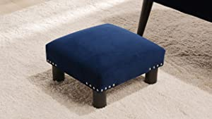 Jennifer Taylor Home 66000-859 Jules Contemporary Nailhead Trim Accent Footstool, Navy Blue