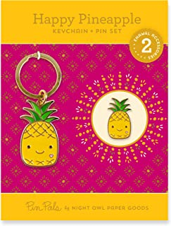 product image for Night Owl Paper Goods Keychain & Enamel Pin Gift Set, Gold 2 Piece