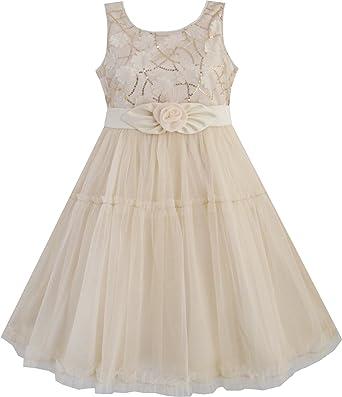 4bec61487afaf Sunny Fashion Robe Fille Shinning Paillettes Beige Tulle Couches Mariage  Reconstitution historique 2-10 ans  Amazon.fr  Vêtements et accessoires