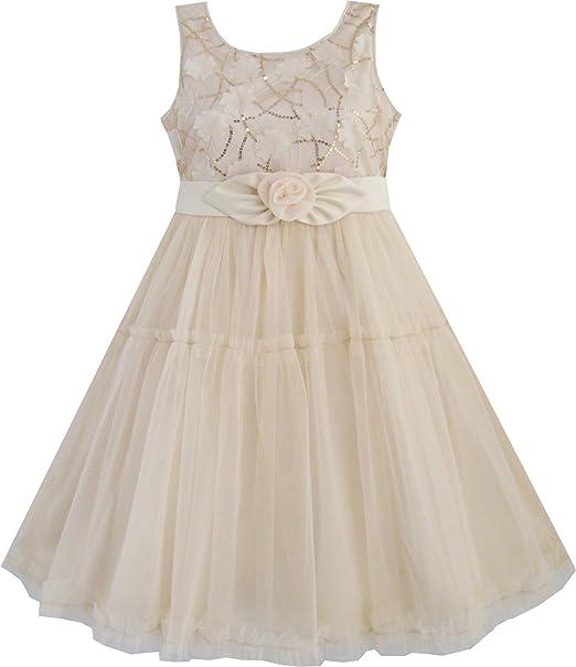 EE71 Sunny Fashion - Vestido liso para niña beige 2-3 años