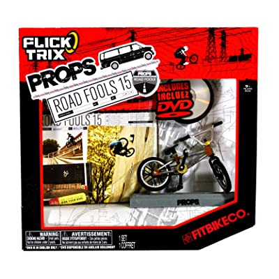 "Spinmaster Flick Trix Fingerbike ""Real Bikes, Unreal Tricks"" BMX Bicycle Miniature Set - FITBIKE CO. with Display Base and DVD Props ""Road Fools 15"": Toys & Games"