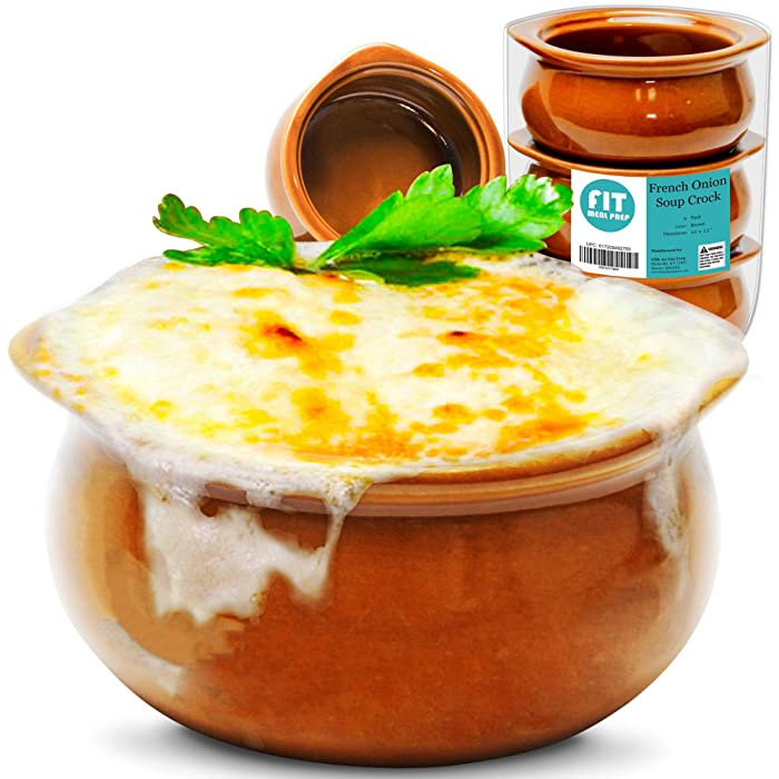 [6 Pack] 12 Oz French Onion Soup Crock - Brown Premium Ceramic Porcelain Bowls, Microwave Oven Safe, For Soup, Stews, Chilis, Baked Beans, Mac and Cheese