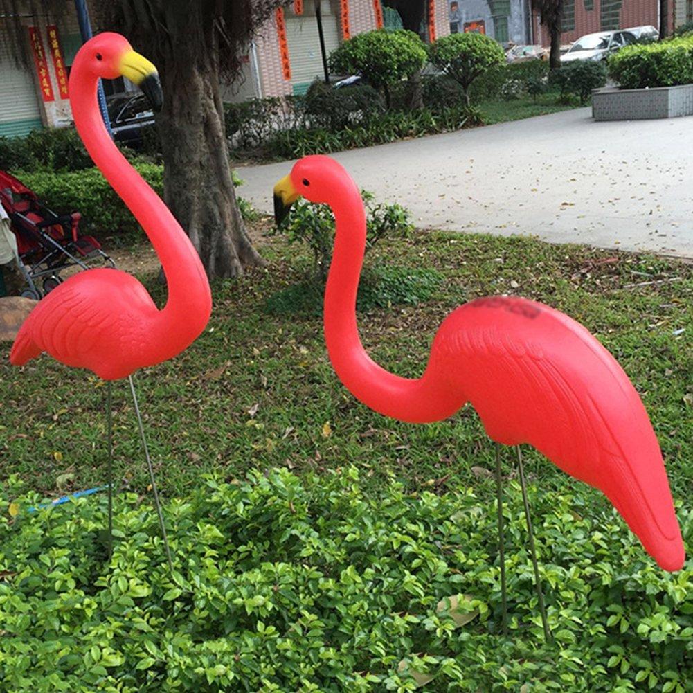 Pack of 2 Large Plastic Simulation Flamingo Garden Yard Lawn Pond ...