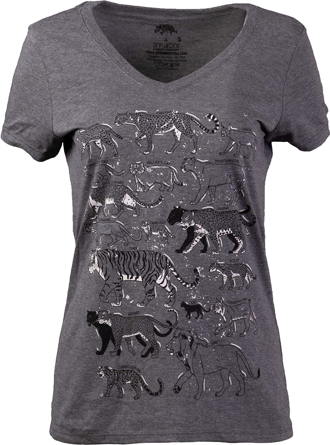 Big Cats | Lion Tiger Cheetah Jaguar Cougar Leopard Lynx Feline Fan Cat Mom V-Neck Graphic T-Shirt for Women