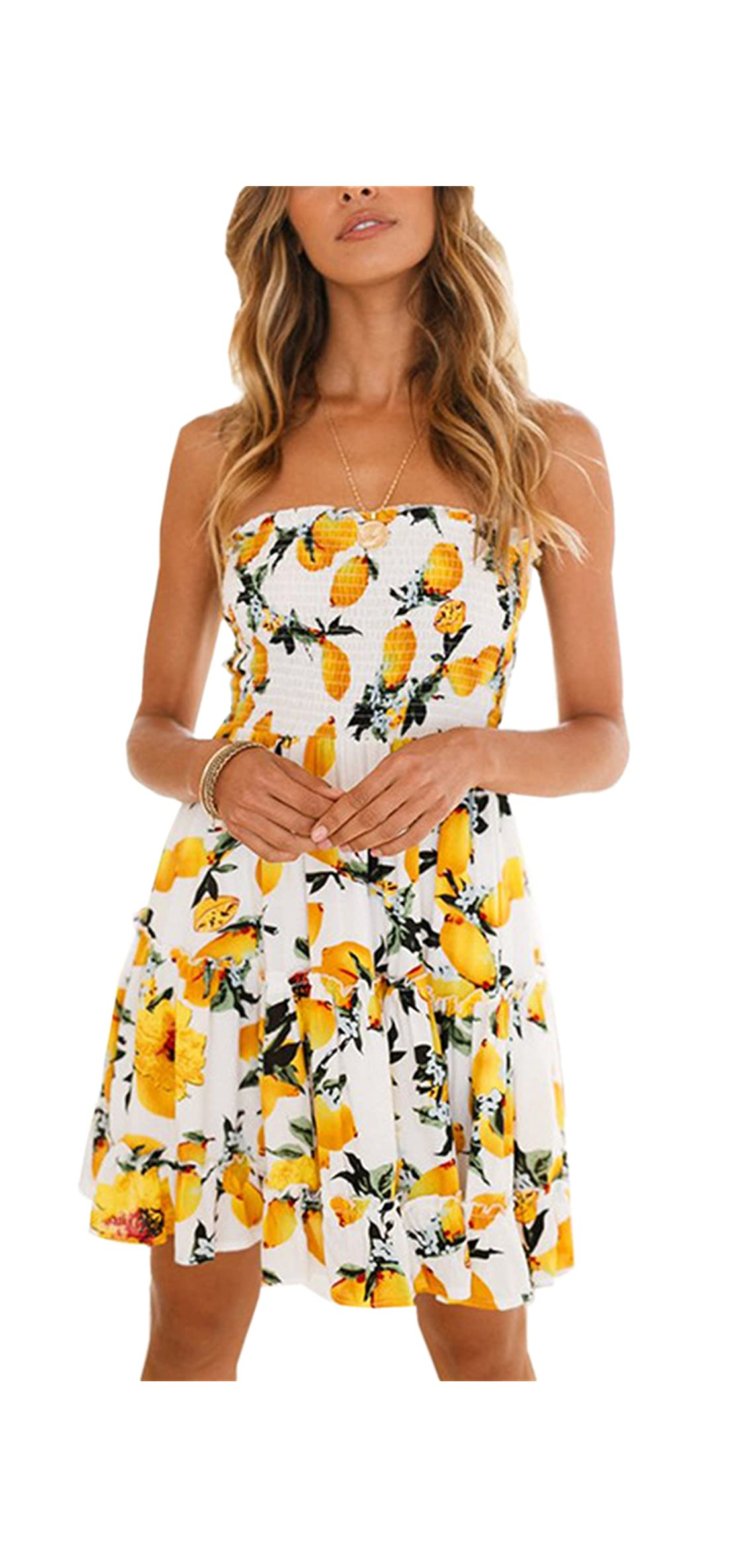 Women's Floral Strapless Pleated Flowy Skater Mini