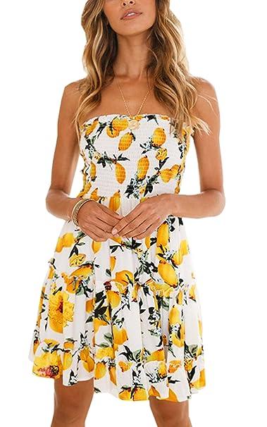 2619ae181cd Angashion Women s Floral Strapless Pleated Flowy Skater Mini Tube Dress  Lemon