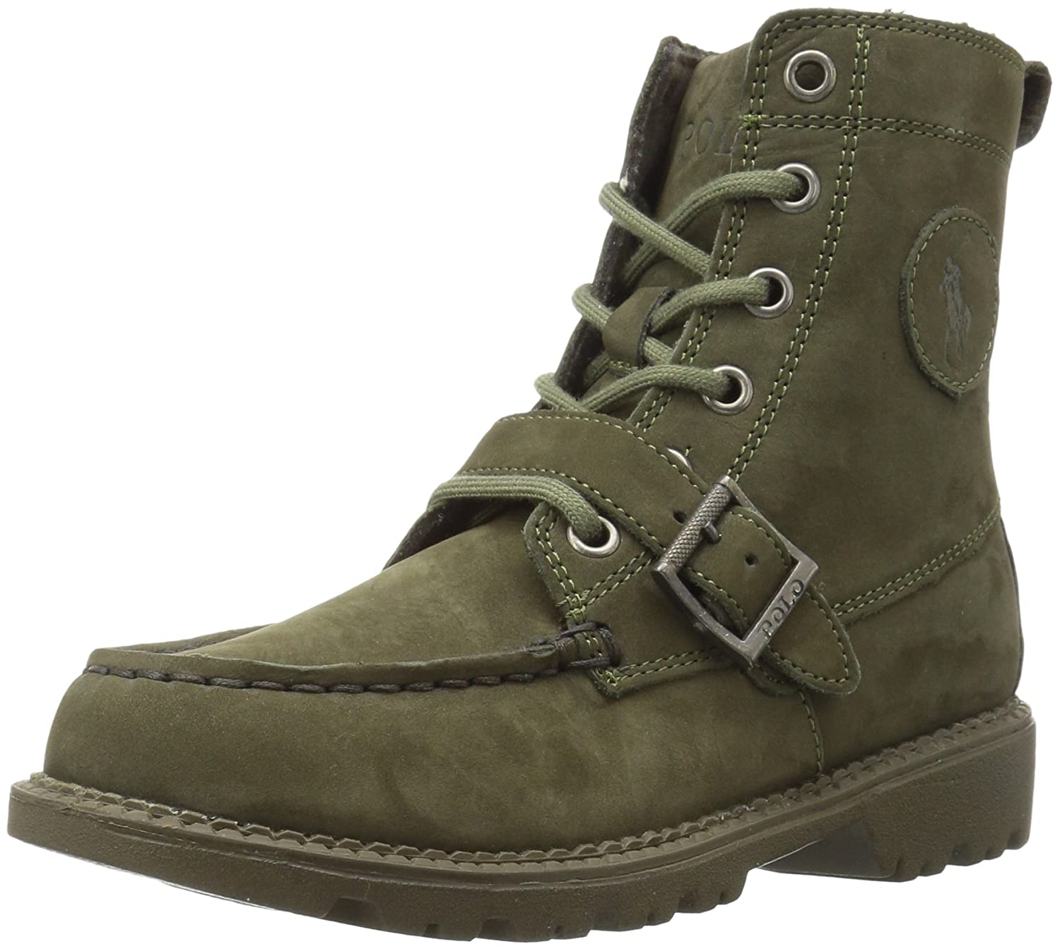 Polo Ralph Lauren Kids Boys Ranger HI II Fashion Boot Triple Olive Nubuck 2.5 Medium US Little Kid