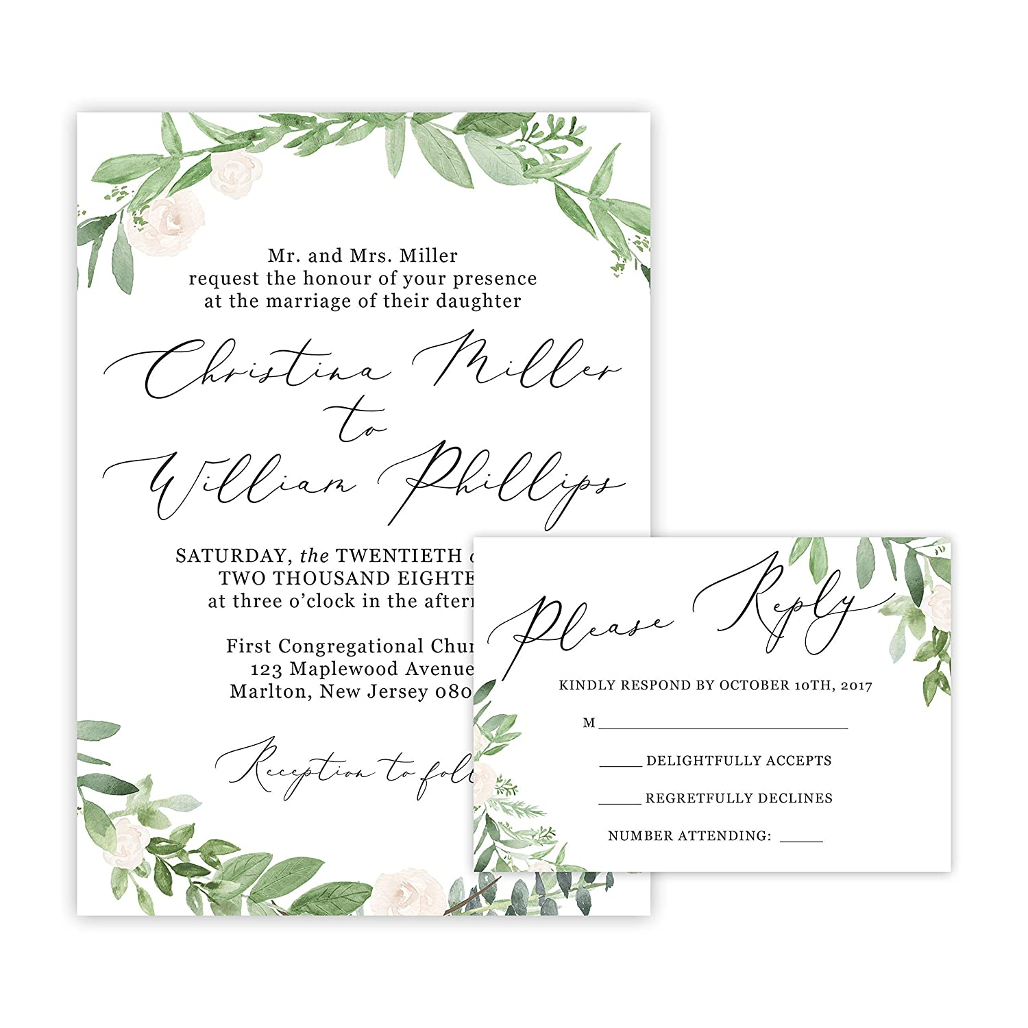 Amazon Com Greenery Wedding Invitations And Self Mailing Rsvp Cards Includes Envelopes For Set Greenery Wedding Invitations Handmade