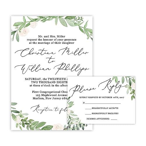Amazon.com: Greenery Wedding Invitations And Self Mailing RSVP