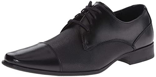 Calvin Klein Men's Bram Oxford, Black Diamond Leather, 10.5 M US