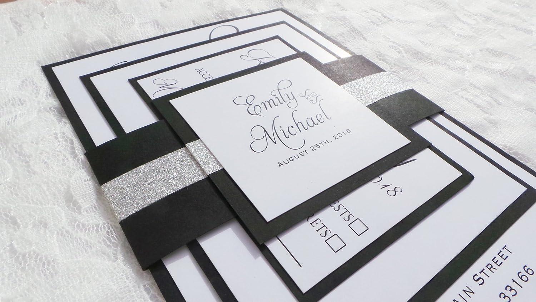 Amazon Com 100 Wedding Invitations Black White Silver