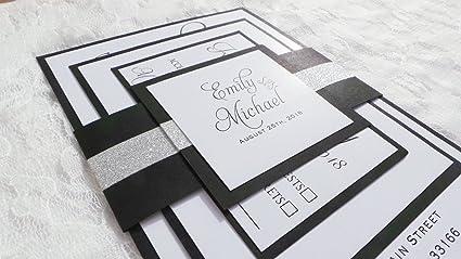 amazon com 100 wedding invitations black white silver glitter belly
