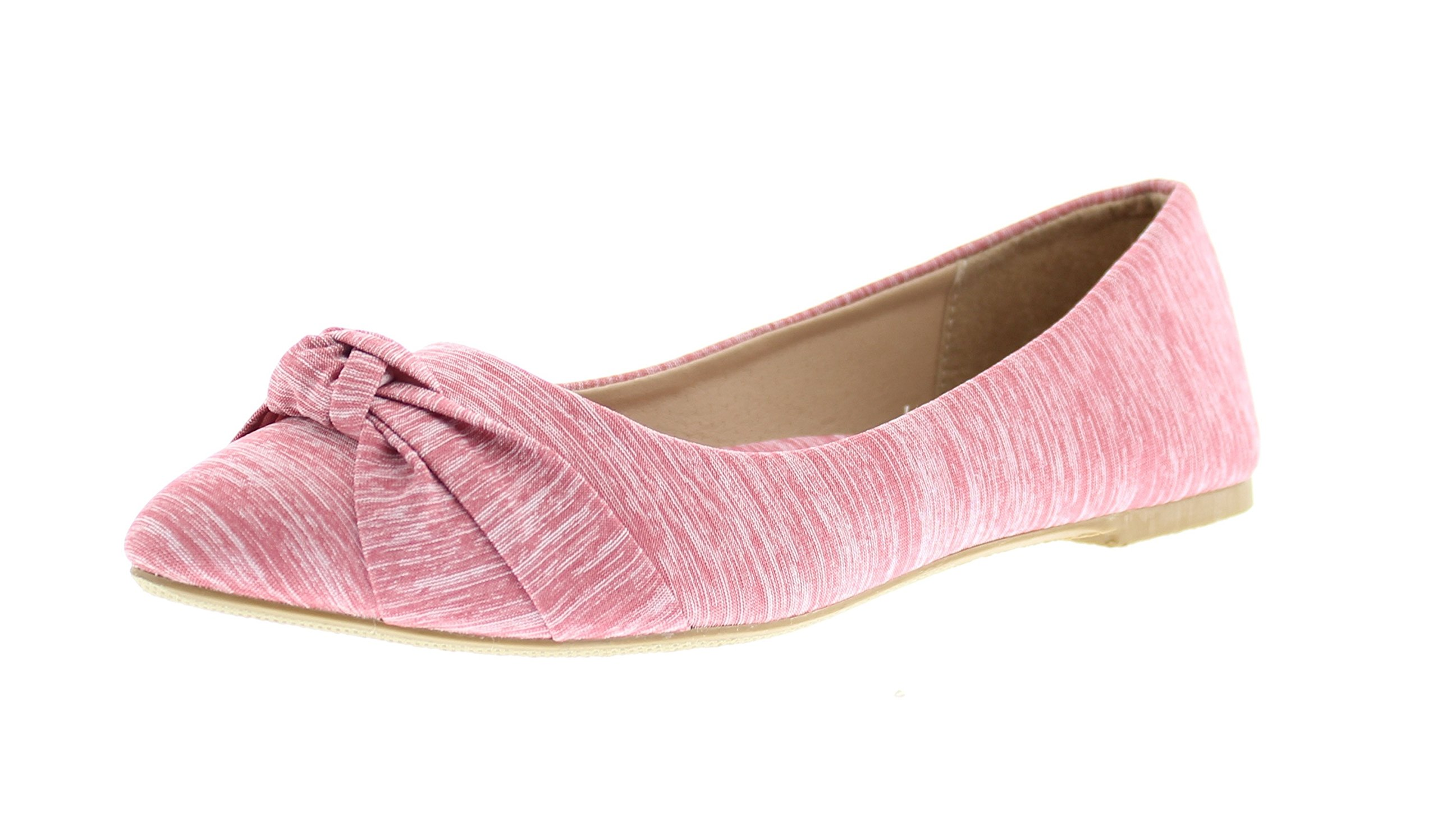 Gold Toe Women's Eve Knit Ruched Knotted Bow Pointed Toe Ballet Flat Dress Slip On Shoe Arch Support Pink 7 US