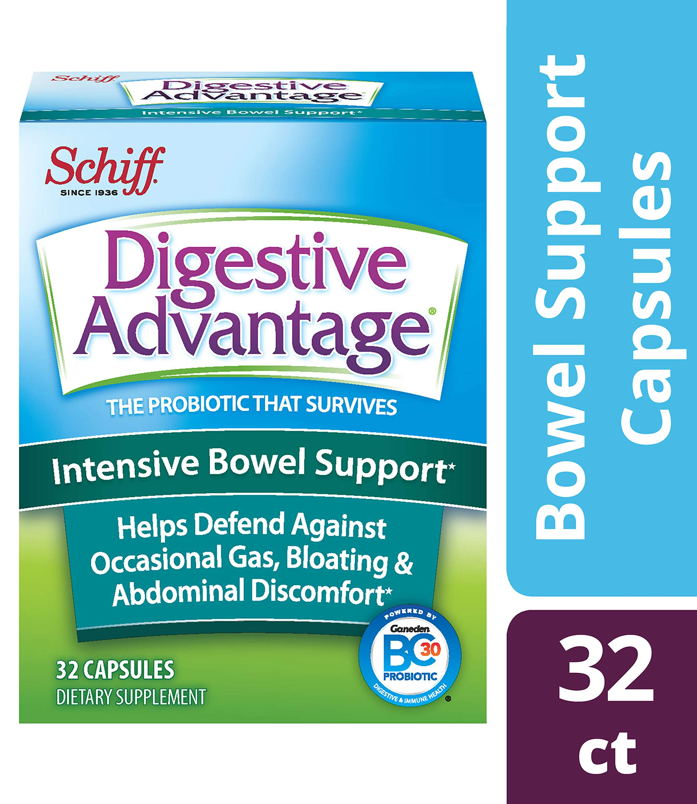 Intensive Bowel Support Probiotic Supplement - Digestive Advantage 32 Capsules, defends against gas, bloating