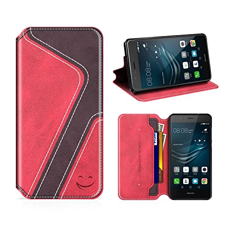 MOBESV Smiley Funda Cartera Huawei P9 Lite, Funda Cuero Movil Huawei P9 Lite Carcasa Case con Billetera/Soporte para Huawei P9 Lite - Rojo/Violeta ...