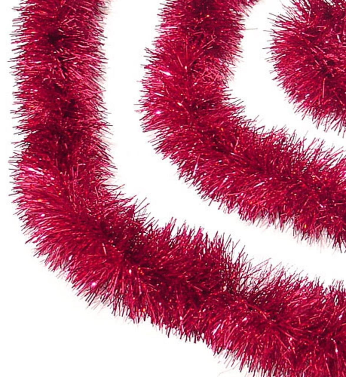 Holliday Time 90 ft Classic Christmas Decorating Tinsel Garland (6 x 15') (Red) by Holiday Time