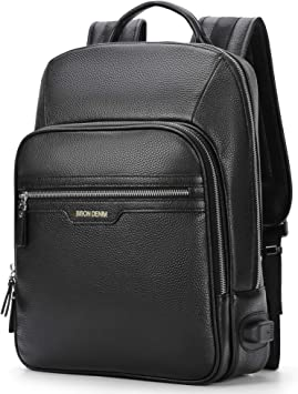 Men Women Genuine Leather Backpack Fashion Travel Bag Rucksack School Bags Black