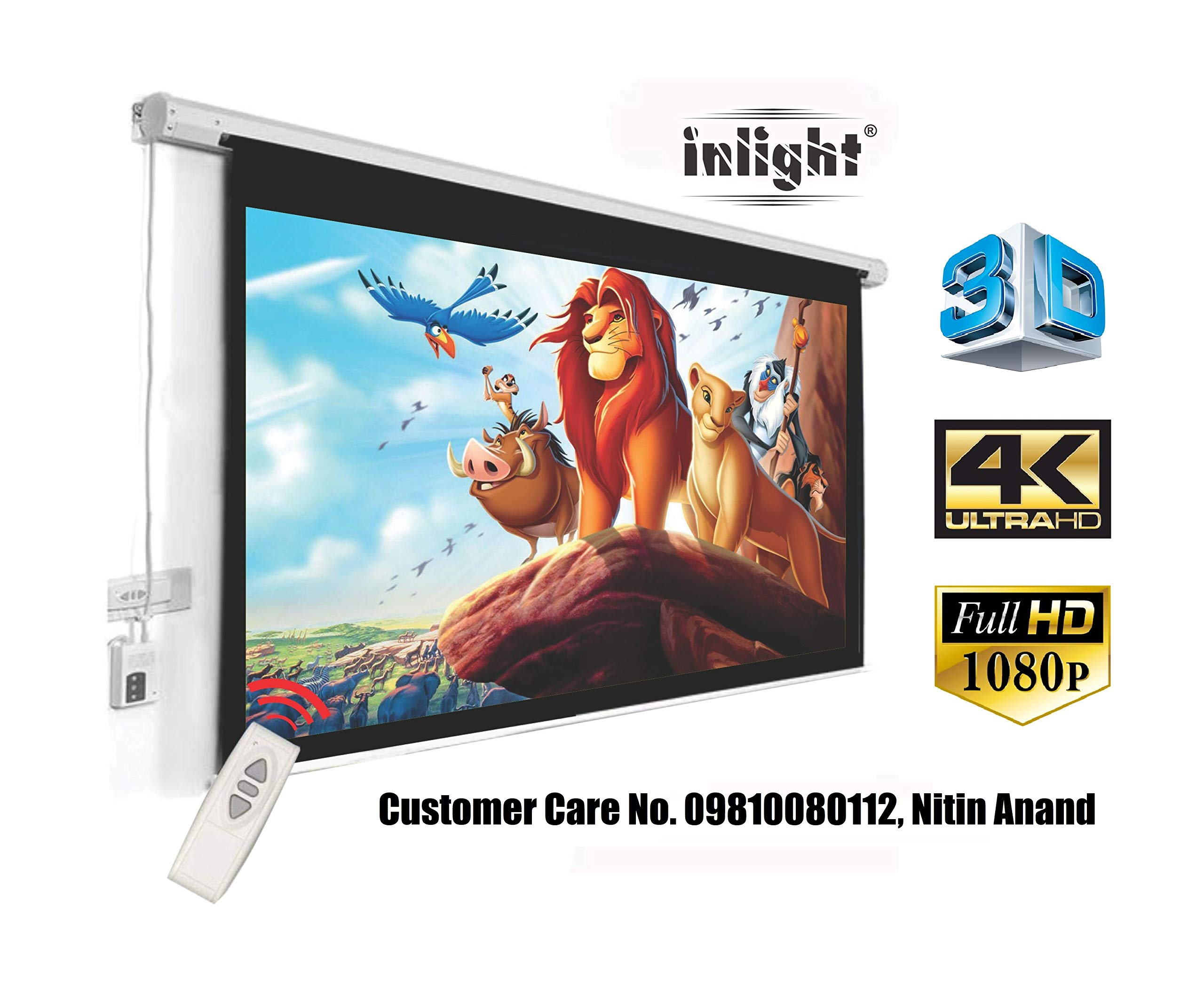 Inlight Motorised Home Theatre Projector Screen, 84 Inch Diagonal, 6 ft x 4 ft in 4:3 Format, Cordless Remote (White,V_6X4) product image