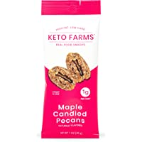 Keto Farms, Maple Candied Pecans, Keto Candy Snacks (1g Net Carb) 1 Ounce, 6 Count   Keto Friendly Desserts - Real Food…