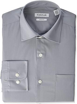 Haggar Mens Premium Performance Slim Fit Dress Shirt Camisa de Vestir, Cuadros púrpura Claro, 38 cm- 39 cm Cuello 81 cm- 84 cm Manga para Hombre: Amazon.es: Ropa y accesorios