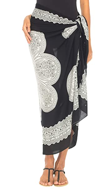 25c90ce7a5 SHU-SHI Womens Beach Swimsuit Cover Up Flower Sarong Wrap with Coconut Clip  Black/