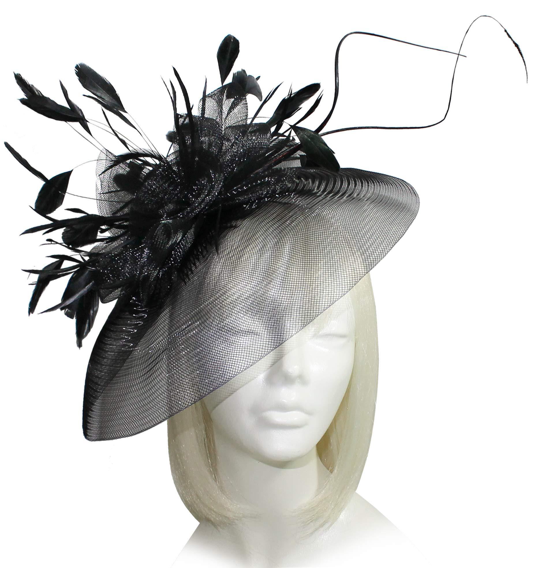 Mr. Song Millinery Kentucky Derby All-Season Sinamary Profile CRIN Headband Fascinator - AF102 Black