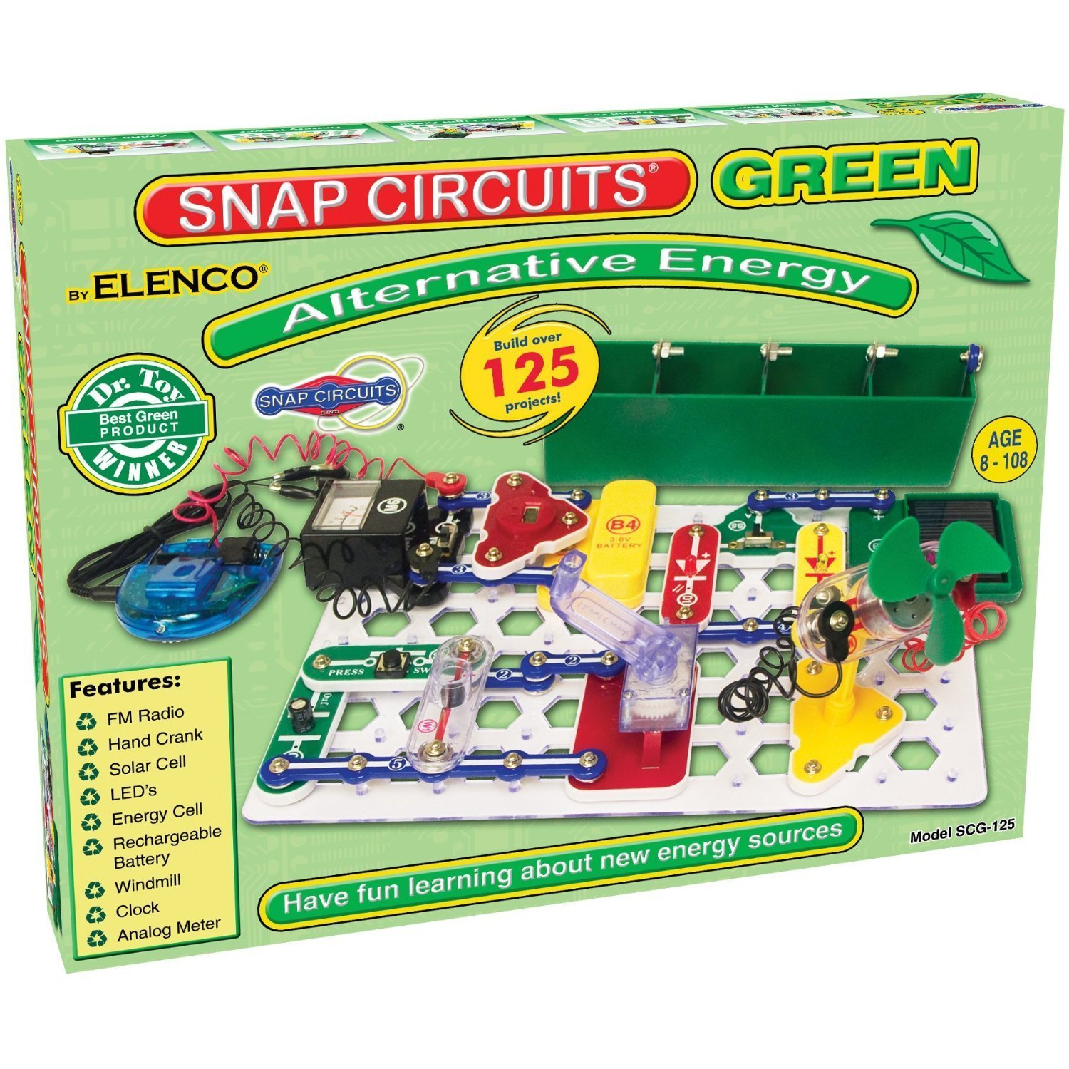 Snap Circuits Alternative Energy Green Electronics Exploration in Alternative Energy Kit | Over 125 STEM Projects | 4-Color Project Manual | 40+ Snap Modules | Unlimited Fun by Snap Circuits