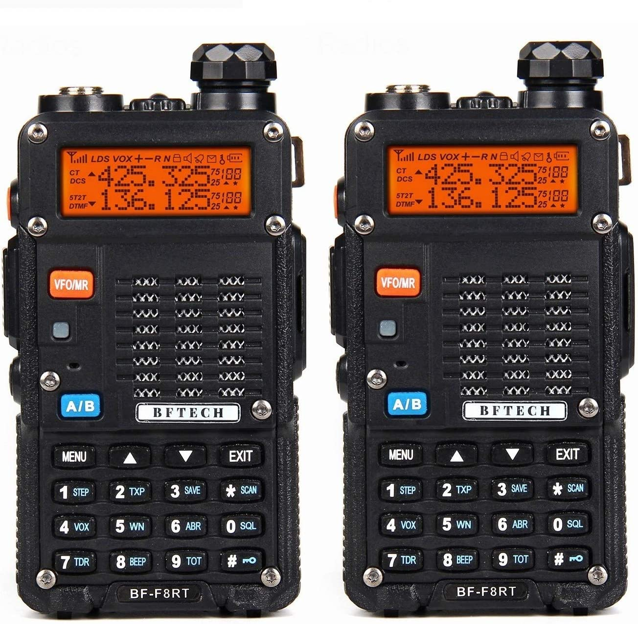 BFTECH BF-F8RT BF-F8 3rd Gen 8-Watt Dual Band Two-Way Radio 136-174Mhz VHF 400-520Mhz UHF with High Gain NA-772R Stretchable Antenna 2-pcs