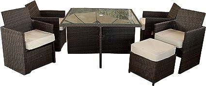 Gartenmobelgruppe Polywood Rattan Set Cube 9 Teilig In Braun Vier Sessel Inklusive Hocker Platzsparend Unterstellbar Inklusive 2 Kissen Pro Sessel Amazon De Garten