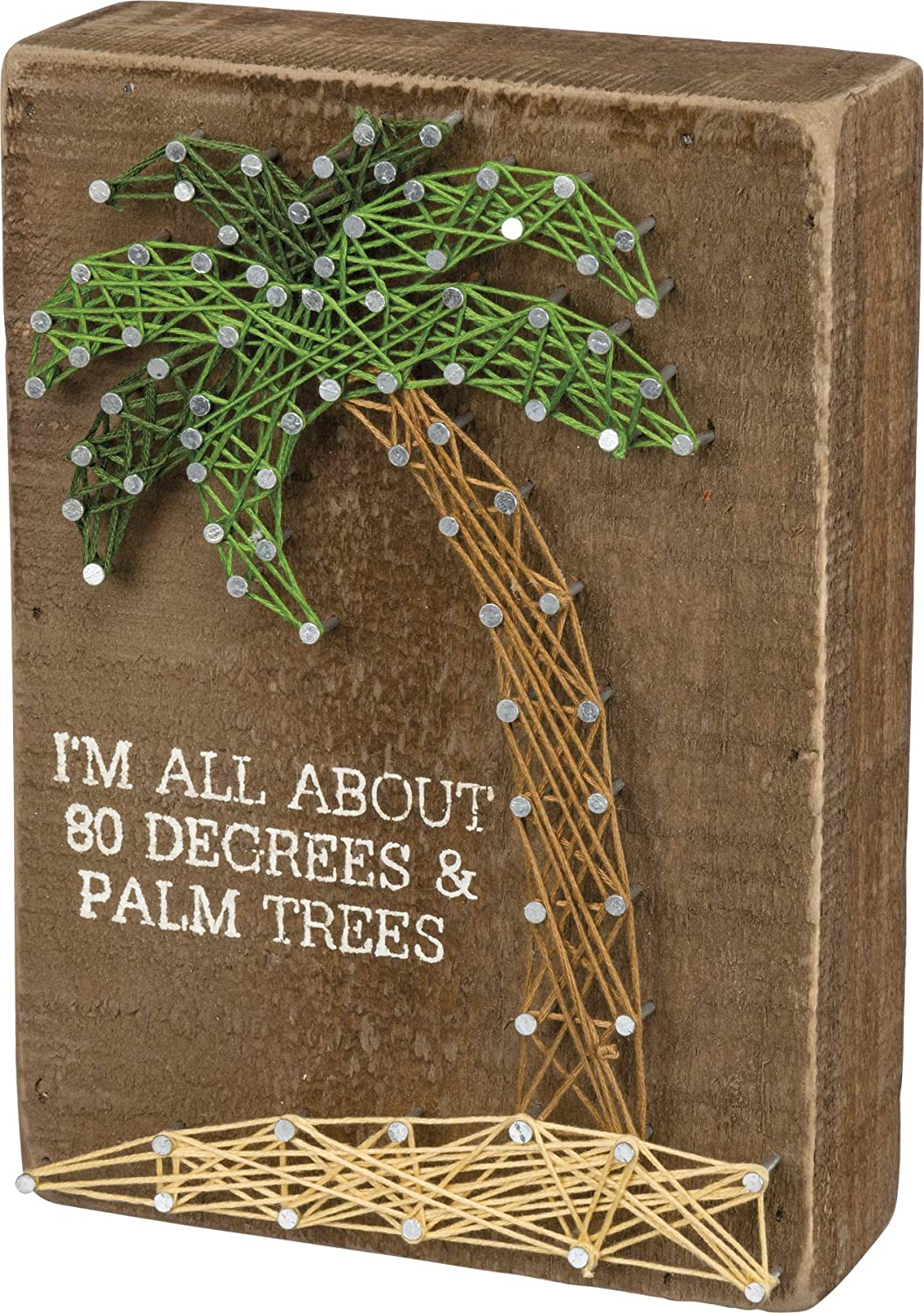 Primitives by Kathy 34654 String Art Box Sign, 5 x 7-Inches, 80 Degrees & Palm Trees