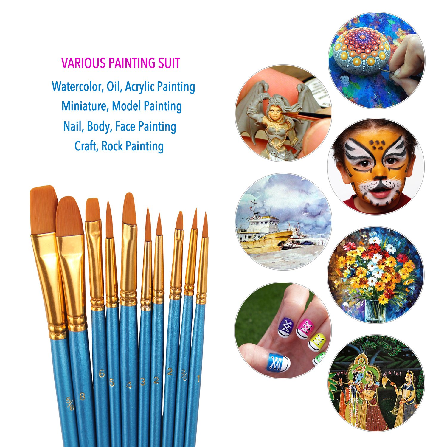 HeroNeo/® 10Pcs Artists Paint Brush Set Acrylic Watercolor Round Pointed Tip Nylon Hair